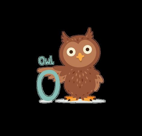 O for Owl Illustration