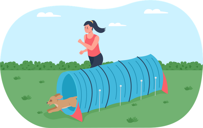 Obstacle course for training dogs Illustration