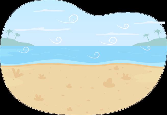 Ocean beach Illustration