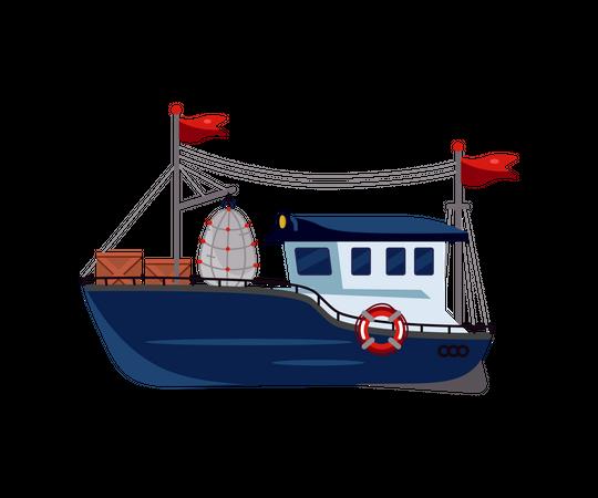 Ocean fish boat Illustration
