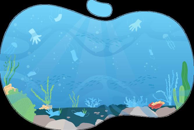 Ocean pollution Illustration