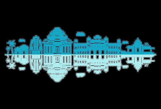 Odisha Skyline silhouette with reflections Illustration