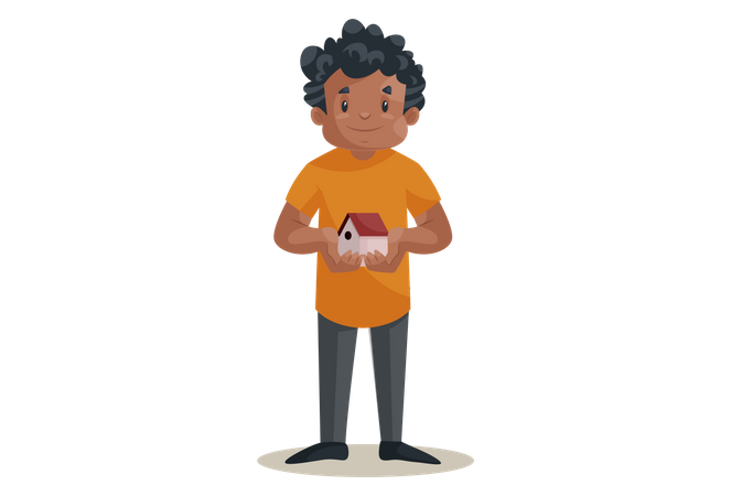Office boy holding House toy as home loan concept Illustration