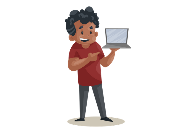 Office boy is holding a laptop in hand Illustration