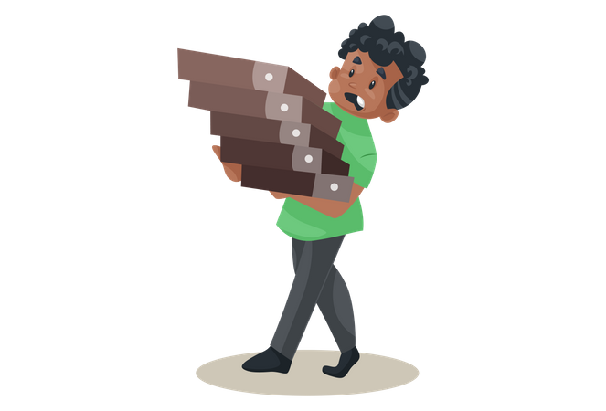 Office boy is holding files in hands Illustration
