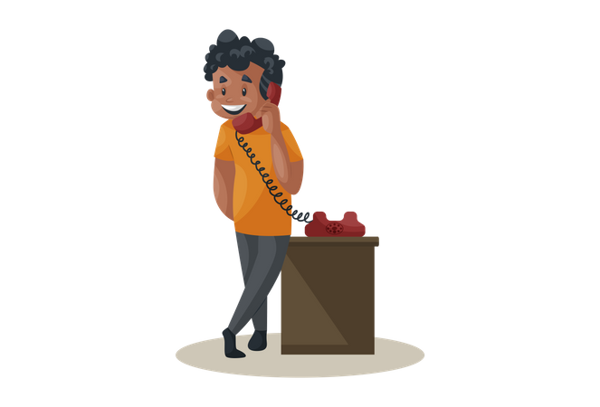 Office boy is talking on the telephone Illustration