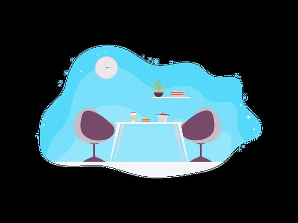 Office cafe area Illustration