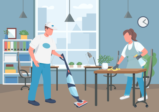 Office cleaning house Illustration