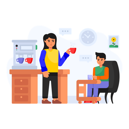 Office Coffee Break Illustration
