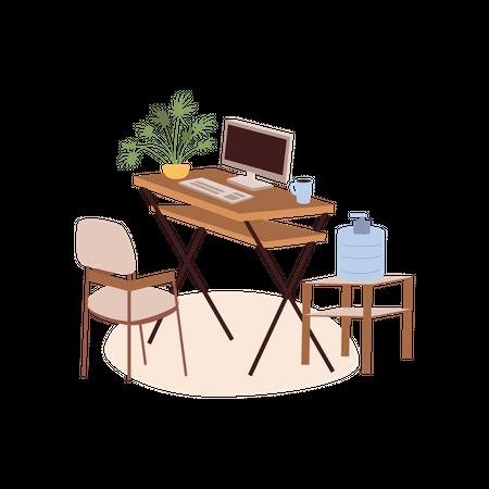 Office Computer Table Illustration