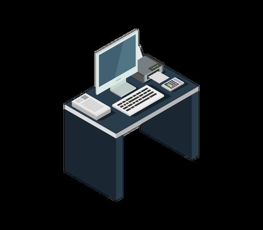 Office desk Illustration
