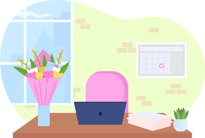 Office desk with bouquet in vase Illustration