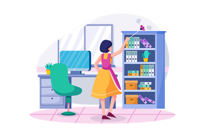 Office Dust Cleaning Illustration