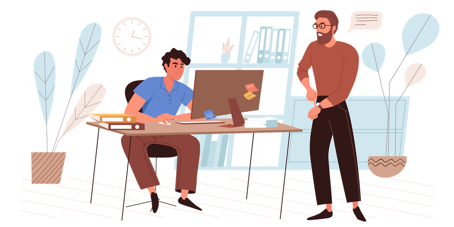 Office Employee Working At Deadline Illustration