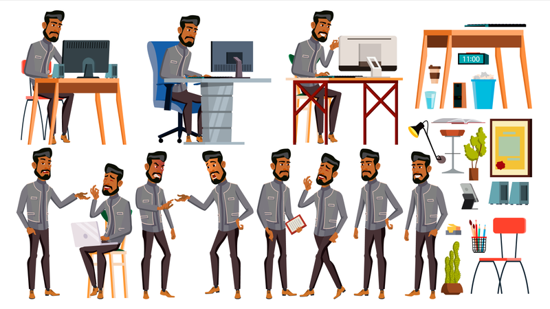 Office Employee Working In Office With Working Gesture Illustration