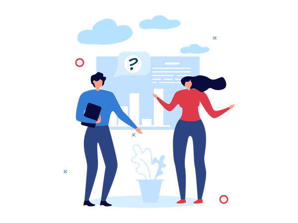 Office employees discussing marketing strategy Illustration
