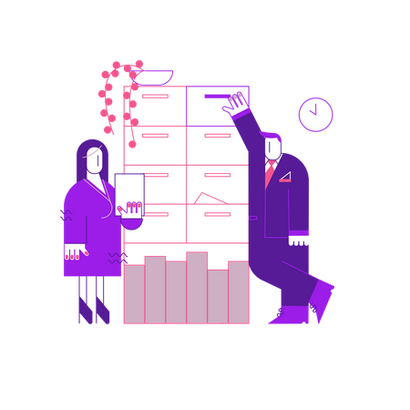 Office Employees doing Discussion Illustration