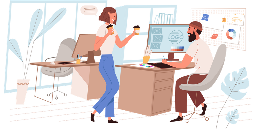 Office Employees Sharing Coffee Illustration