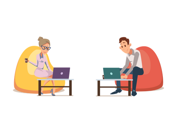 Office employees working on laptop and sitting on beanbag Illustration
