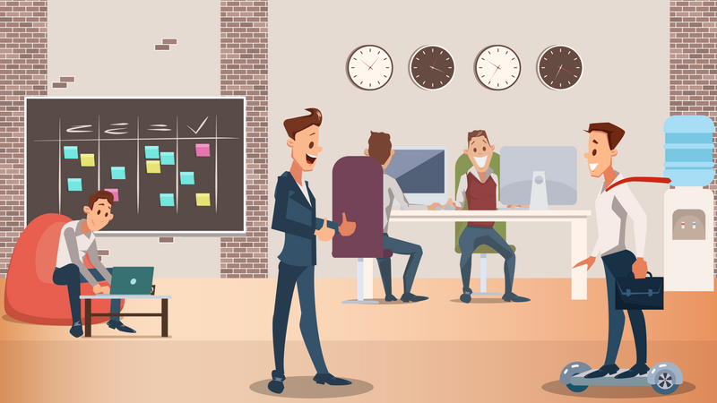 Office Employees Working Together Illustration