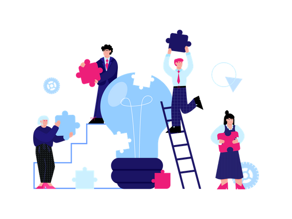 Office employees working together for new idea Illustration