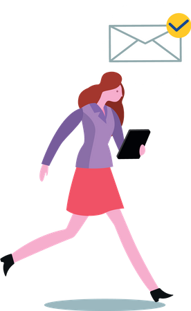 Office lady checking email in her tablet while running Illustration