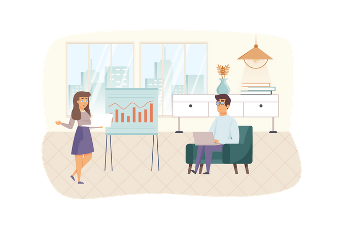 Office manager at business meeting Illustration