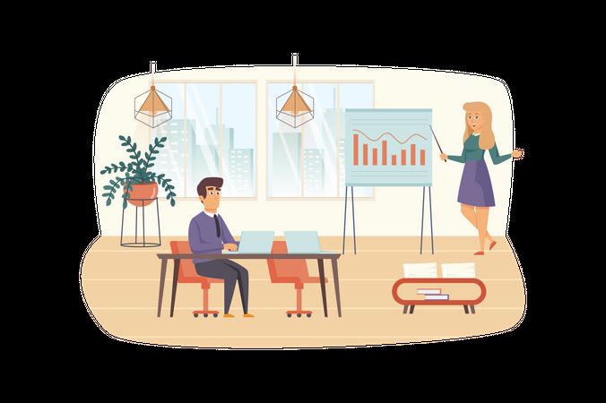 Office manager makes report presentation Illustration