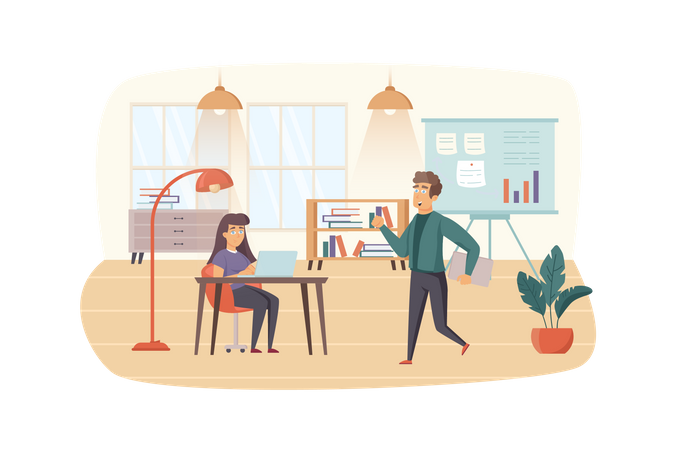 Office manager organizes office work Illustration