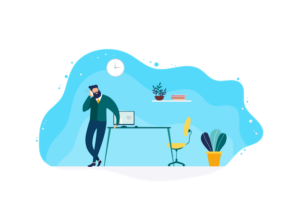 Office manager talking over phone Illustration