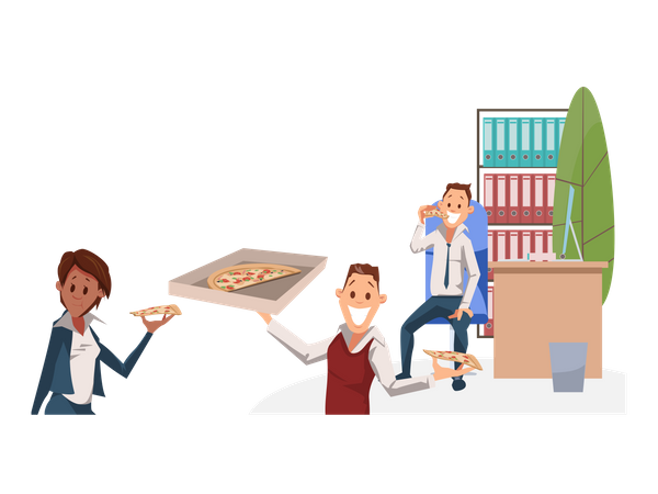 Office People eating Pizza at Lunch Time Illustration