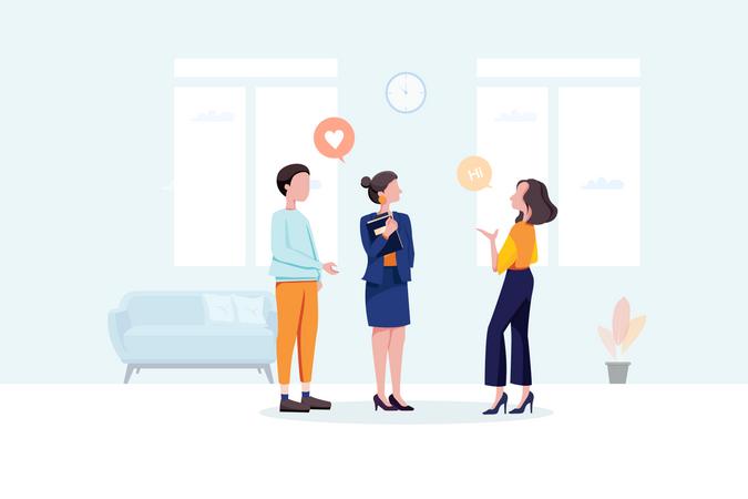 Office people gossip in company Illustration