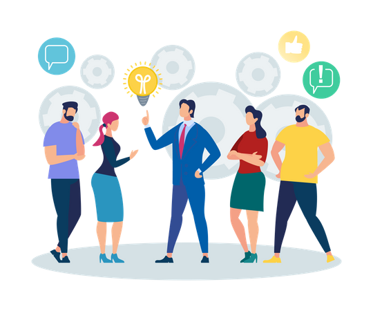Office People sharing business ideas Illustration