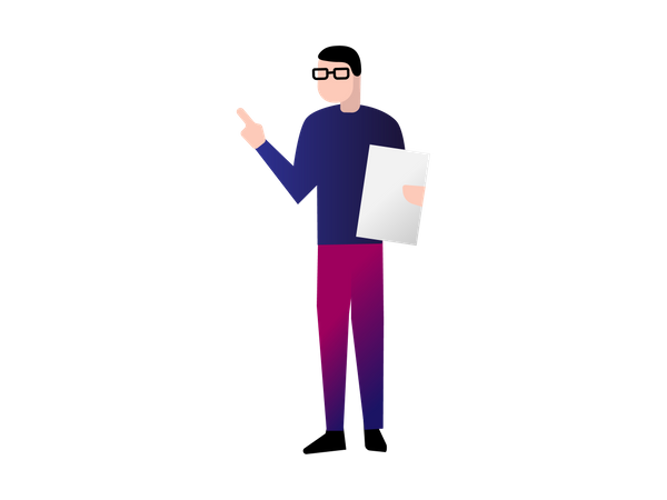 Office Person Holing paper and Pointing Something Illustration