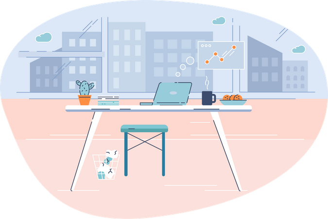 Office place at home Illustration