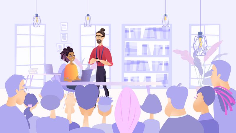 Office staff doing meeting Illustration