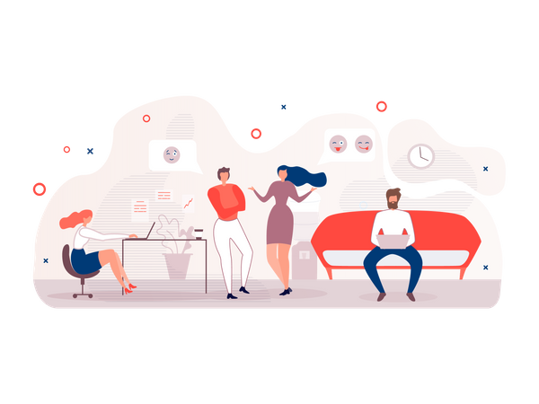 Office staff working and Communicating with each other Illustration
