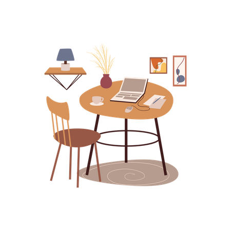 Office Work Table Illustration