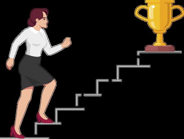 Office worker climbing up career ladder Illustration