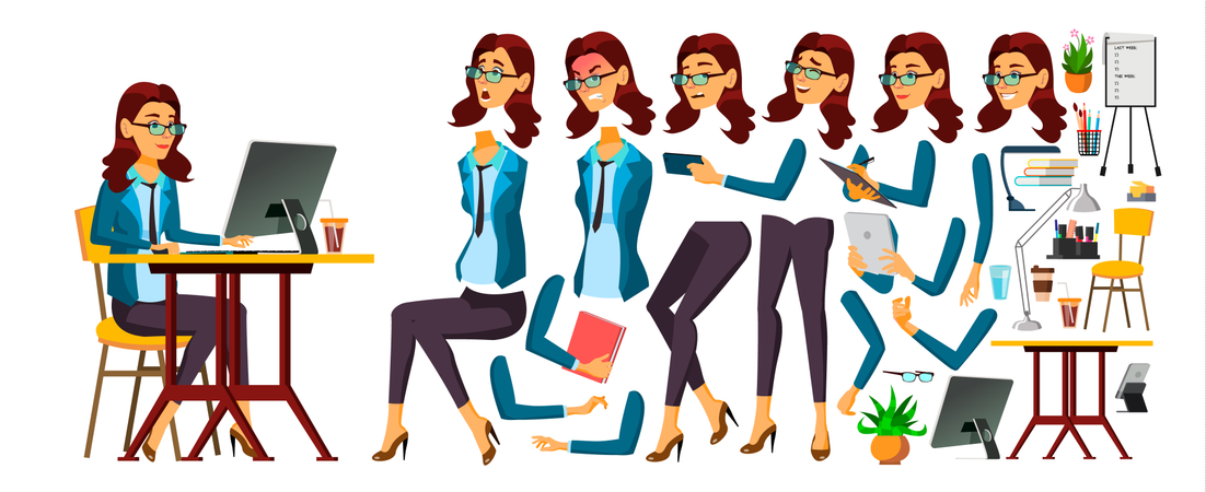 Office Worker Different Body Parts Illustration