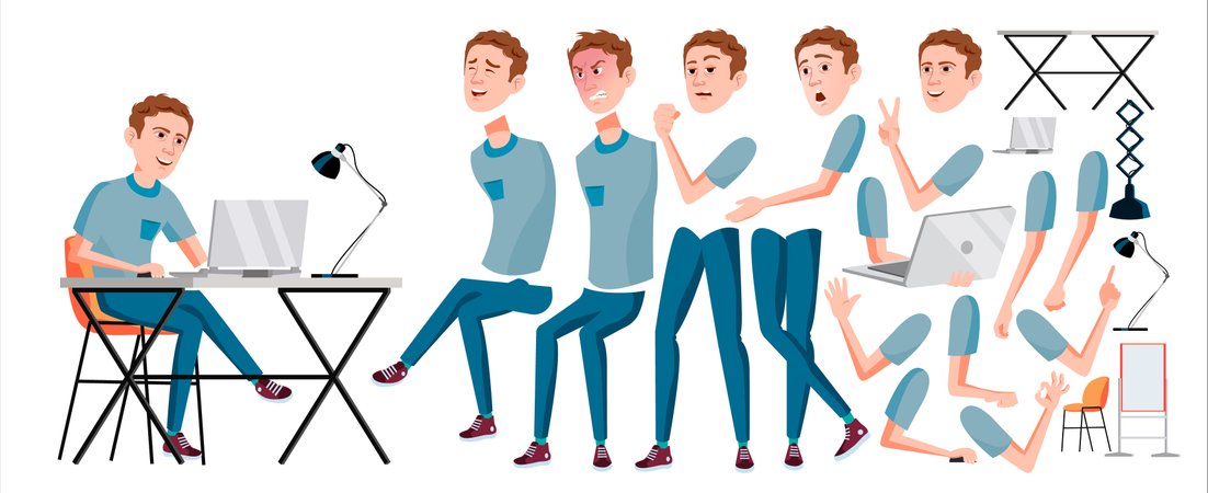 Office Worker Different Body Parts Used In Animation. Illustration