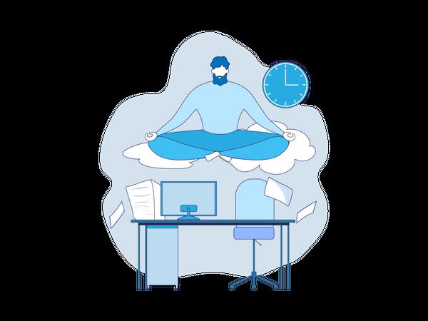Office Worker Meditate under Workplace Illustration