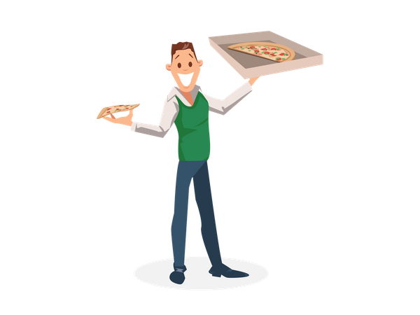 Office Worker Standing with Carton Pizza Box in his hand Illustration