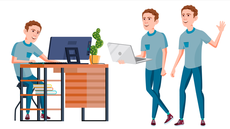 Office Worker Vector With Face Emotions And Various Gestures Illustration