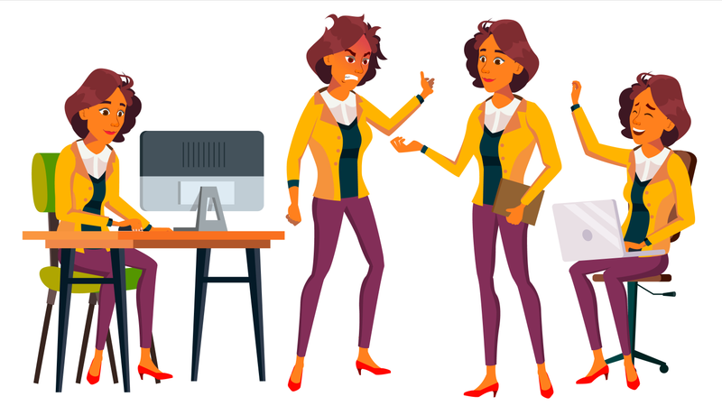 Office Worker Vector. Woman. Business Person. Face Emotions, Gestures. Situations. Flat Cartoon Illustration Illustration
