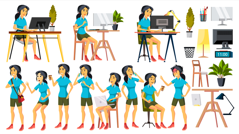 Office Worker Vector. Woman. Happy Clerk, Servant, Employee. Korean, Vietnamese. Japanese Business Human. Face Emotions, Various Gestures. Isolated Character Illustration Illustration