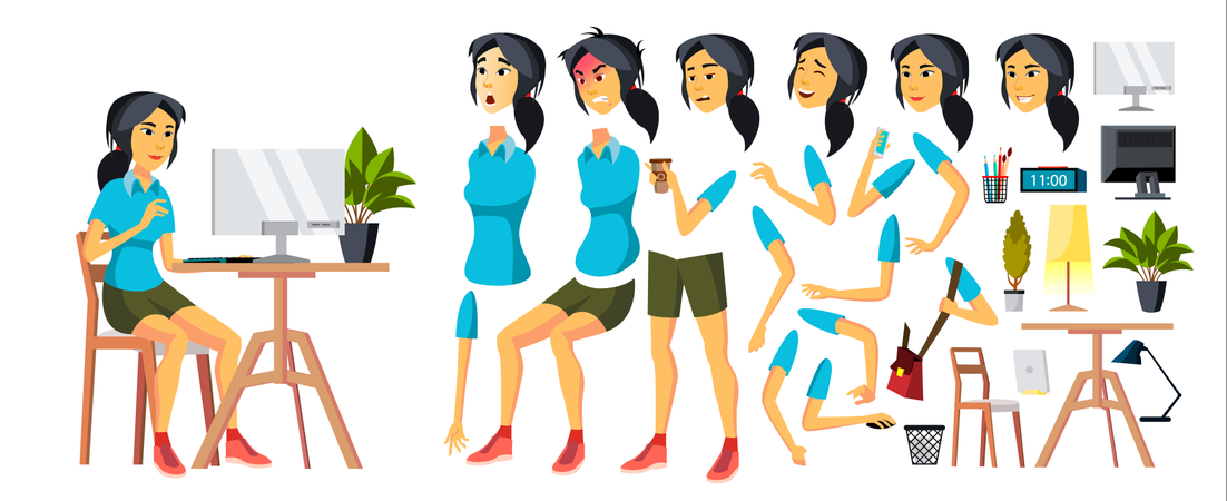 Office Worker Vector. Woman. Modern Employee, Laborer. Korean, Vietnamese, Japanese Business Worker. Face Emotions, Various Gestures. Animation Creation Set. Isolated Cartoon Character Illustration Illustration
