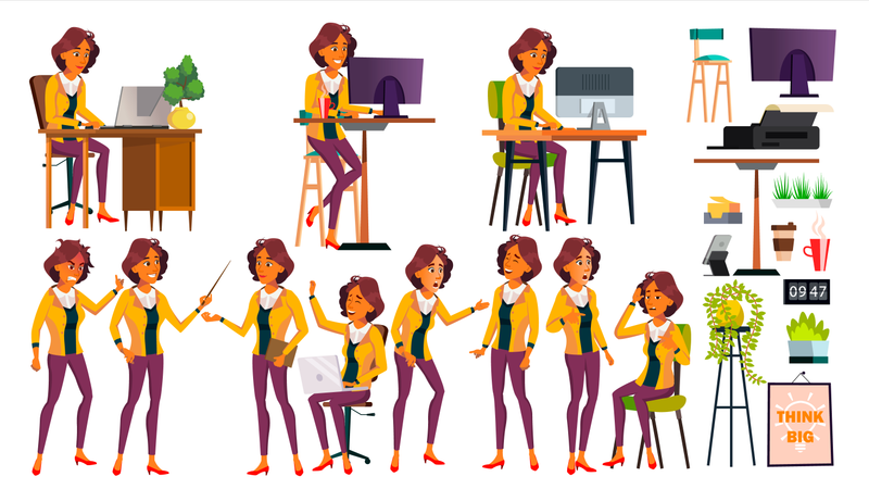 Office Worker Vector. Woman. Modern Employee, Laborer. Poses. Business Worker. Office. Face Emotions, Various Gestures. Animation Creation Set. Isolated Cartoon Character Illustration Illustration