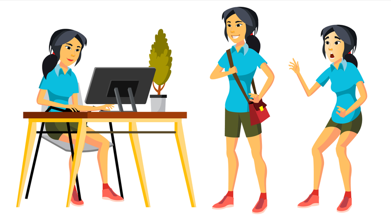 Office Worker Vector. Woman. Professional Officer, Clerk. Business Japanese Female. Lady Face Emotions, Various Gestures. Isolated Flat Character Illustration Illustration