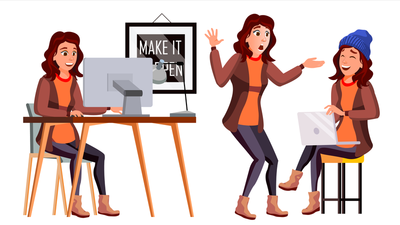 Office Worker Vector. Woman. Smiling Servant, Officer. Business Person. Face Emotions, Various Gestures. Flat Cartoon Illustration Illustration